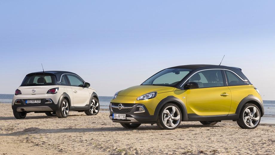 Opel Adam Rocks. Выпускается с 2012 года. Две базовые комплектации. Марка официально не представлена на российском рынке.Двигатель от 1.0 до 1.4, бензиновый. Привод передний. КПП: роботизированная и механическая.
