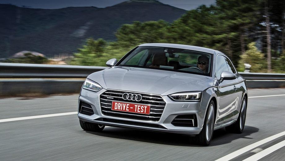 Audi A5. Выпускается с 2016 года. Четыре базовые комплектации. Цены от 3 052 000 до 3 272 000 руб.Двигатель 2.0, дизельный и бензиновый. Привод полный. КПП: роботизированная.