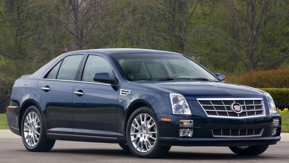 Cadillac STS. Выпускается с 2004 года. Три базовые комплектации. Цены от 1 590 000 до 2 050 000 руб.Двигатель от 3.6 до 4.6, бензиновый. Привод задний и полный. КПП: автоматическая.