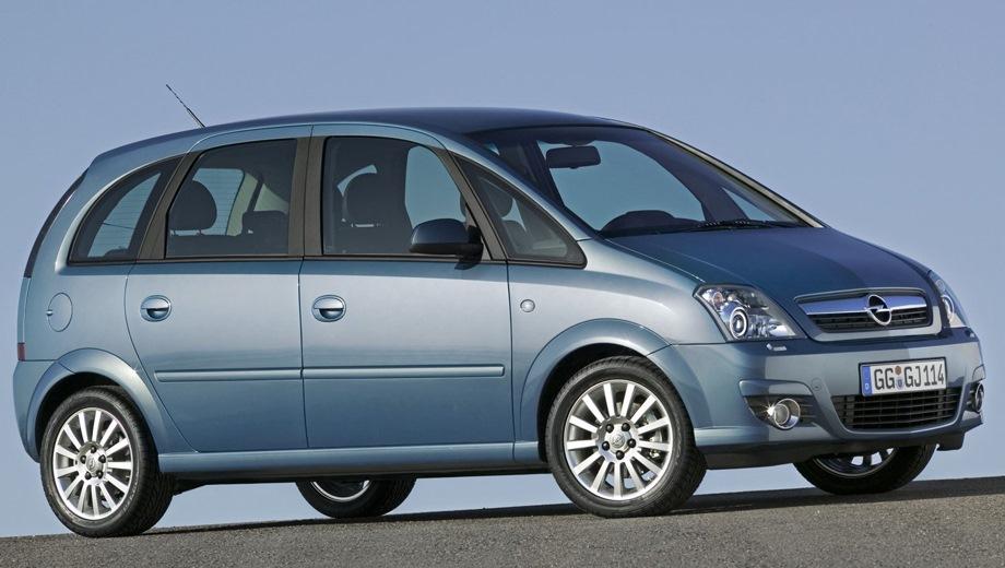 Opel Meriva (2002). Выпускается с 2002 года. Восемь базовых комплектаций. Цены от 583 000 до 669 600 руб.Двигатель от 1.2 до 1.6, бензиновый и дизельный. Привод передний. КПП: механическая и роботизированная.