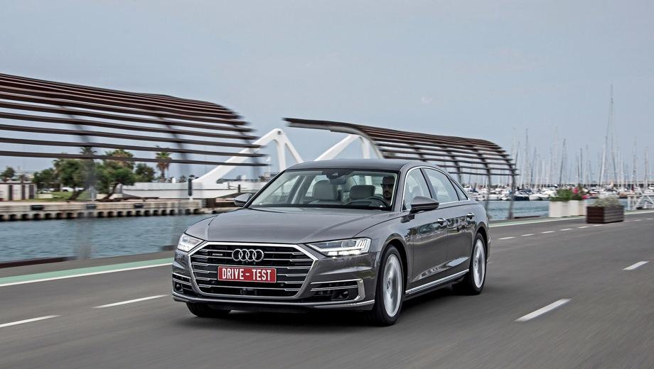 Audi A8. Выпускается с 2017 года. Двенадцать базовых комплектаций. Цены от 6 150 000 до 9 051 000 руб.Двигатель от 3.0 до 4.0, дизельный и бензиновый. Привод полный. КПП: автоматическая.