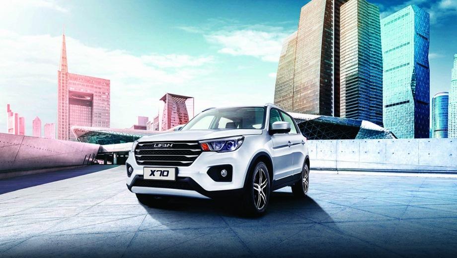 Lifan X70. Выпускается с 2017 года. Шесть базовых комплектаций. Цены от 799 000 до 999 900 руб.Двигатель 2.0, бензиновый. Привод передний. КПП: механическая и вариатор.