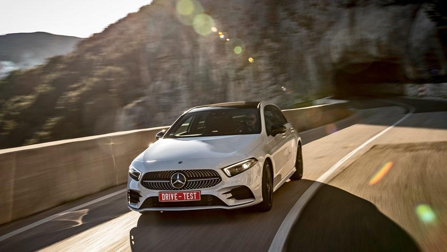 Mercedes-Benz A. Выпускается с 2018 года. Шесть базовых комплектаций. Цены от 1 790 000 до 2 630 000 руб.Двигатель от 1.3 до 2.0, бензиновый. Привод передний и полный. КПП: роботизированная.