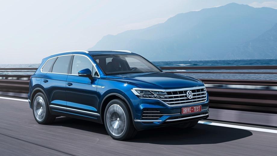 Volkswagen Touareg. Выпускается с 2018 года. Девять базовых комплектаций. Цены от 3 699 000 до 5 259 000 руб.Двигатель от 2.0 до 3.0, бензиновый и дизельный. Привод полный. КПП: автоматическая.