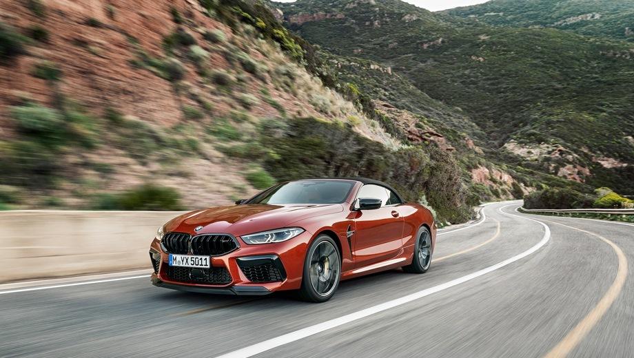 BMW M8 Cabrio. Выпускается с 2019 года. Две базовые комплектации. Цены от 12 780 000 до 14 330 000 руб.Двигатель 4.4, бензиновый. Привод полный. КПП: автоматическая.