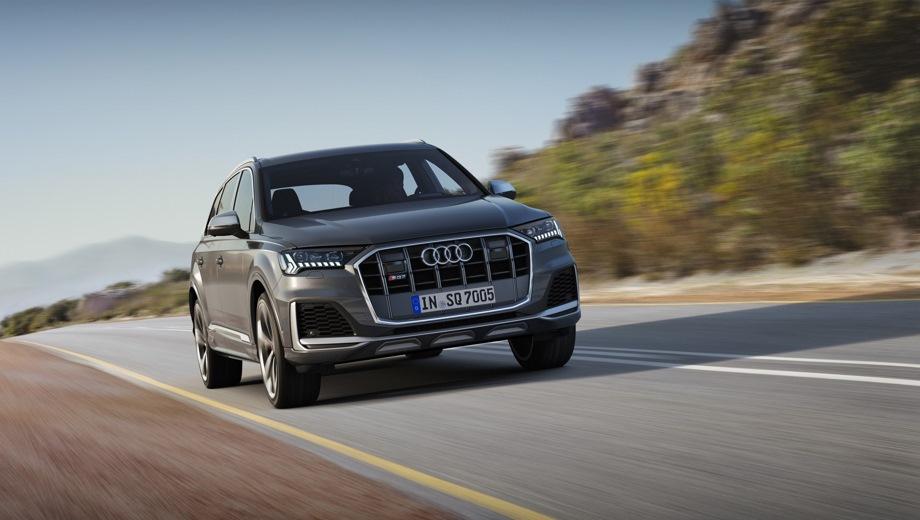Audi SQ7. Выпускается с 2019 года. Одна базовая комплектация. Цена 6 989 000 руб.Двигатель 4.0, дизельный. Привод полный. КПП: автоматическая.
