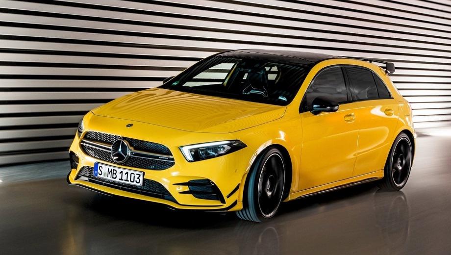 Mercedes-Benz A AMG. Выпускается с 2018 года. Одна базовая комплектация. Цена 3 700 000 руб.Двигатель 2.0, бензиновый. Привод полный. КПП: роботизированная.