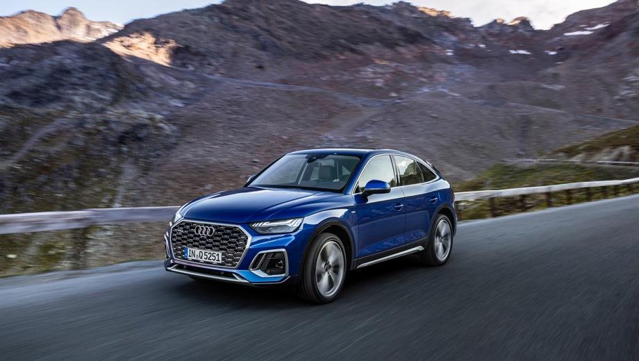 Audi Q5 Sportback. Выпускается с 2020 года. Четыре базовые комплектации. Цены от 5 062 500 до 5 512 500 руб.Двигатель от 2.0 до 3.0, бензиновый и дизельный. Привод полный. КПП: роботизированная и автоматическая.