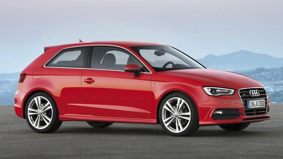 Audi A3. Выпускается с 2012 года. Двадцать четыре базовые комплектации. Цены от 1 304 000 до 1 799 000 руб.Двигатель от 1.2 до 2.0, бензиновый и дизельный. Привод передний и полный. КПП: механическая и роботизированная.