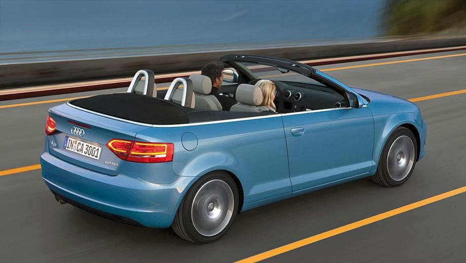 Audi A3 Cabriolet (2008). Выпускается с 2008 года. Семь базовых комплектаций. Цены от 1 262 300 до 1 579 600 руб.Двигатель от 1.8 до 2.0, бензиновый. Привод передний. КПП: механическая и роботизированная.