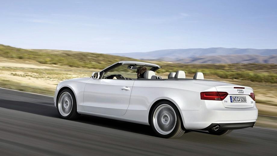 Audi A5 Cabriolet. Выпускается с 2008 года. Шесть базовых комплектаций. Цены от 2 580 000 до 3 645 000 руб.Двигатель от 1.8 до 3.0, бензиновый. Привод передний и полный. КПП: механическая, вариатор и роботизированная.