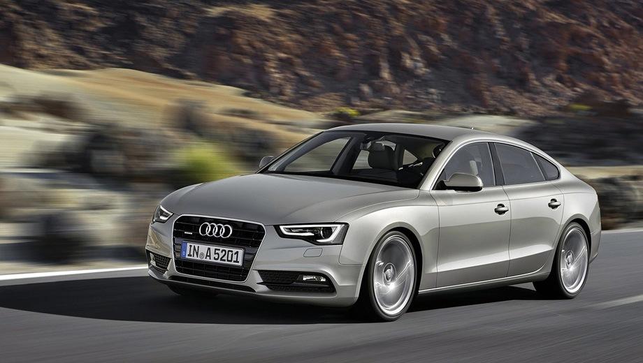 Audi A5 Sportback (2008). Выпускается с 2008 года. Девять базовых комплектаций. Цены от 2 080 000 до 3 310 000 руб.Двигатель от 1.8 до 3.0, бензиновый. Привод передний и полный. КПП: механическая, вариатор и роботизированная.