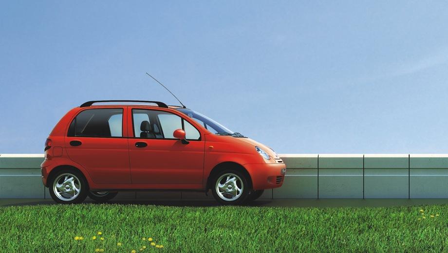 Daewoo Matiz. Выпускается с 1998 года. Четыре базовые комплектации. Марка ликвидирована в 2015 году.Двигатель от 0.8 до 1.0, бензиновый. Привод передний. КПП: механическая.