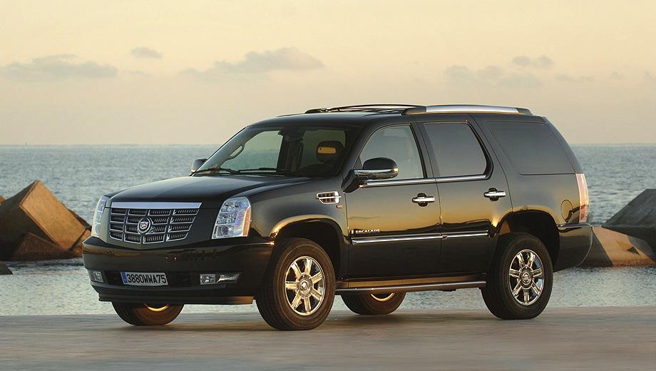 Cadillac Escalade (2007). Выпускается с 2007 года. Три базовые комплектации. Цены от 3 063 000 до 3 970 000 руб.Двигатель от 6.0 до 6.2, бензиновый и гибридный. Привод полный. КПП: автоматическая.