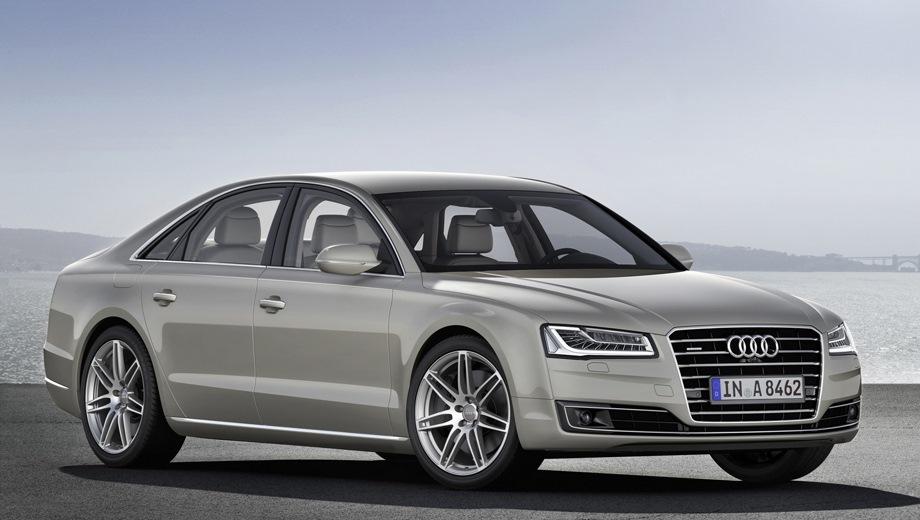 Audi A8 (2009). Выпускается с 2009 года. Пять базовых комплектаций. Цены от 5 745 000 до 9 475 000 руб.Двигатель от 3.0 до 6.3, бензиновый. Привод полный. КПП: автоматическая.