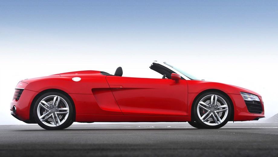 Audi R8 Spyder. Выпускается с 2010 года. Три базовые комплектации. Цены от 6 835 000 до 7 925 000 руб.Двигатель от 4.2 до 5.2, бензиновый. Привод полный. КПП: механическая и роботизированная.