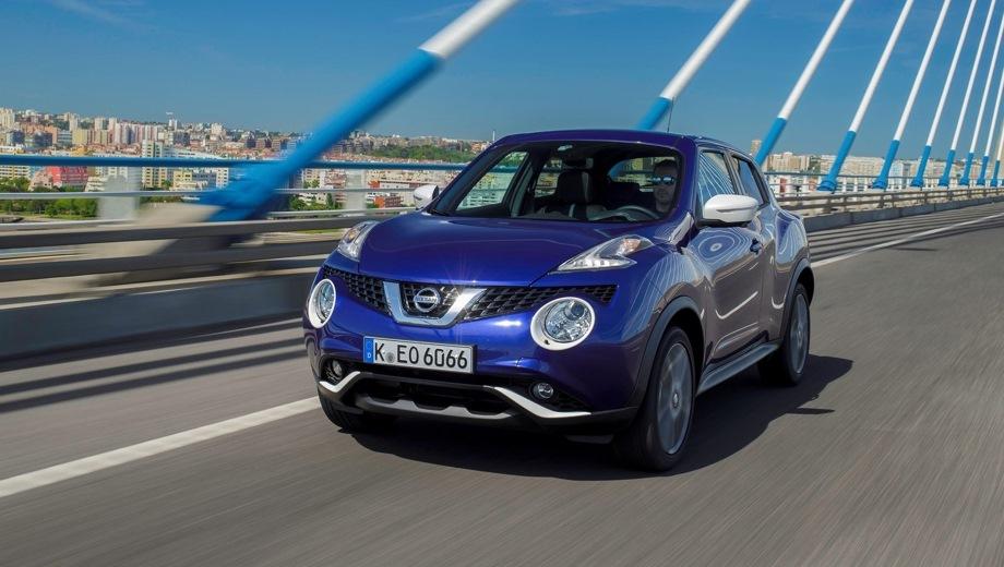Nissan Juke (2011). Выпускается с 2011 года. Пять базовых комплектаций. Цены от 1 194 000 до 1 376 000 руб.Двигатель 1.6, бензиновый. Привод передний. КПП: вариатор.
