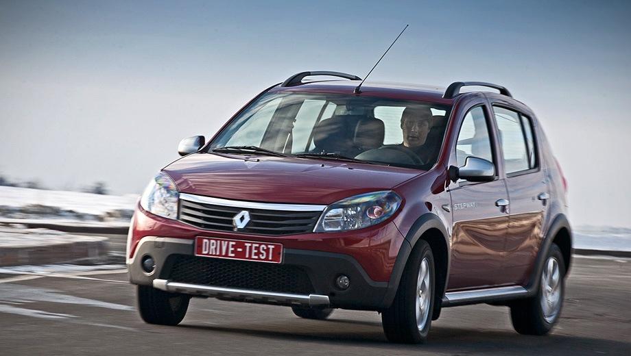 Renault Sandero Stepway (2009). Выпускается с 2009 года. Две базовые комплектации. Цены от 510 000 до 566 000 руб.Двигатель 1.6, бензиновый. Привод передний. КПП: механическая и автоматическая.