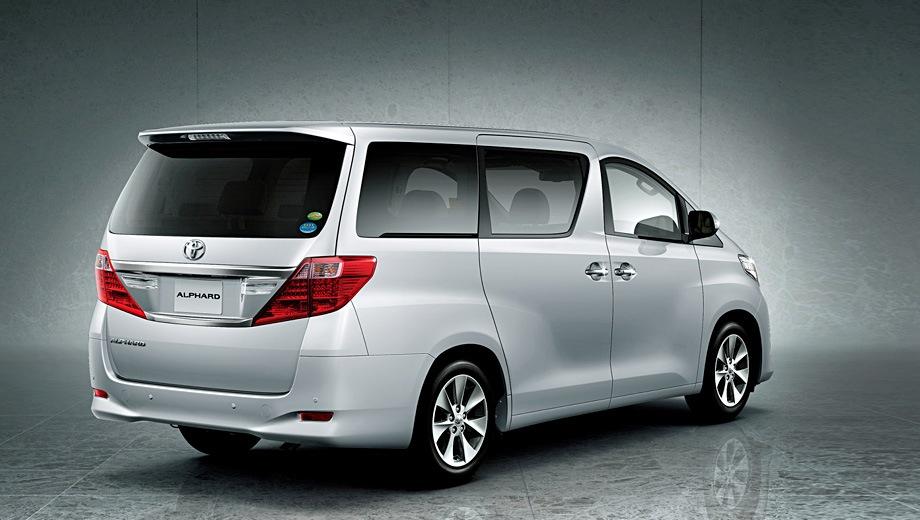 Toyota Alphard (2008). Выпускается с 2008 года. Три базовые комплектации. Цены от 2 545 000 до 2 832 000 руб.Двигатель 3.5, бензиновый. Привод передний. КПП: автоматическая.