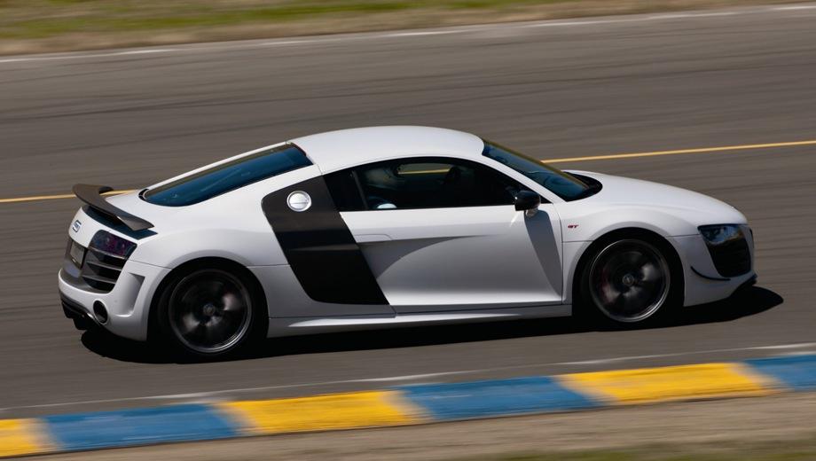 Audi R8 GT. Выпускается с 2011 года. Одна базовая комплектация. Цена 8 071 200 руб.Двигатель 5.2, бензиновый. Привод полный. КПП: роботизированная.