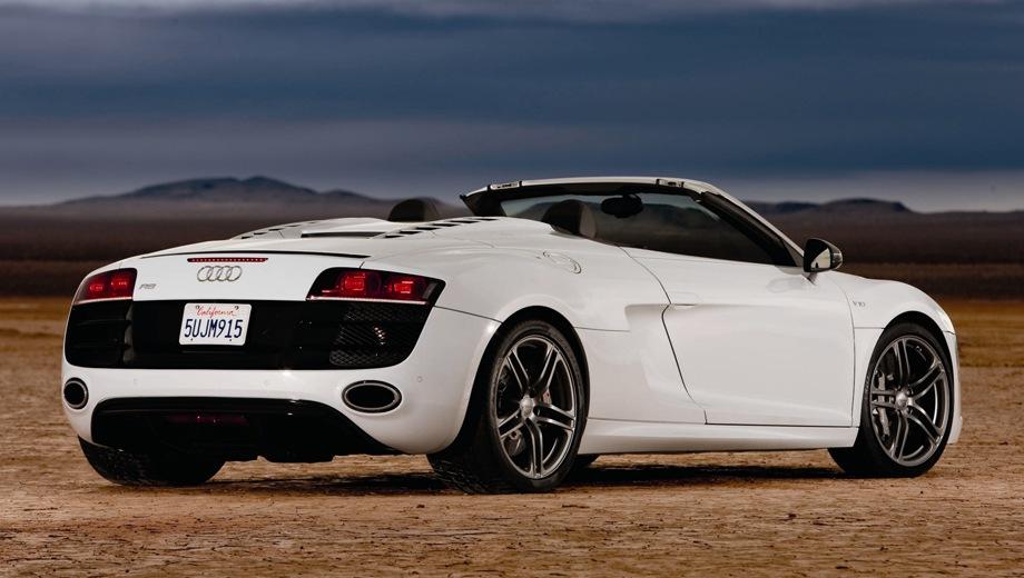 Audi R8 GT Spyder. Выпускается с 2011 года. Одна базовая комплектация. Цена 8 847 700 руб.Двигатель 5.2, бензиновый. Привод полный. КПП: роботизированная.